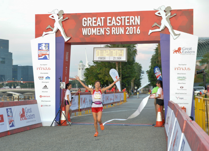 Singapore's Jasmine Goh emerged winner as she crosses the finish line (Photo credits to Great Eastern Women's Run)