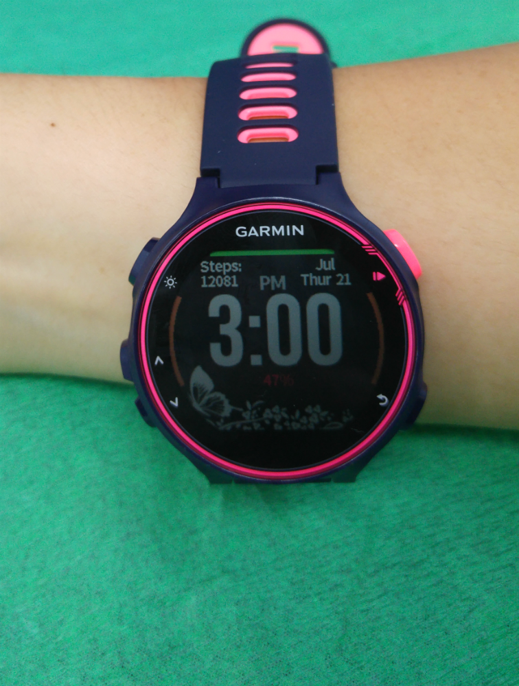 The Garmin Forerunner 735XT is light and sleek on my arm.
