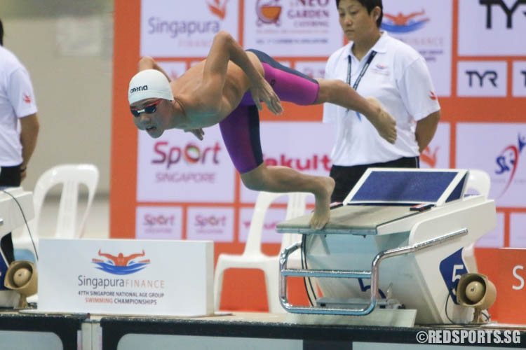 Glen Lim, 14, starting off strong in his 400m freestyle event. He finished second with a timing of 4:09.95, breaking the last national under-14 record of 4:10.68 set by Sng Jun Wei in 1994. (Photo © Chua Kai Yun/Red Sports)