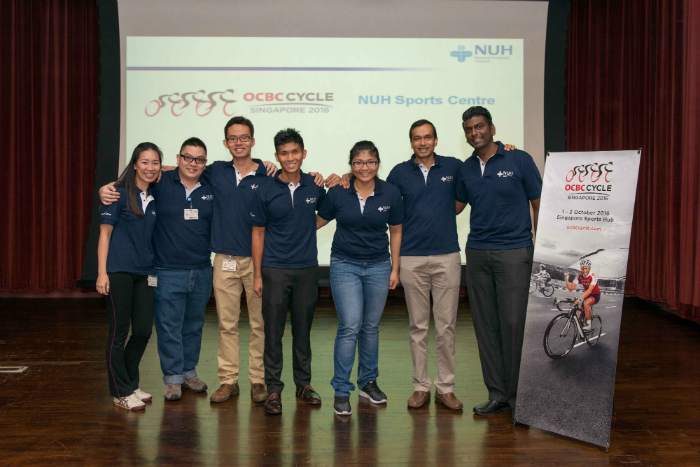 The team from National University Hospital Sports Centre at the injury prevention and management talk at NUH. (Photo Credit: OCBC Cycle 2016)