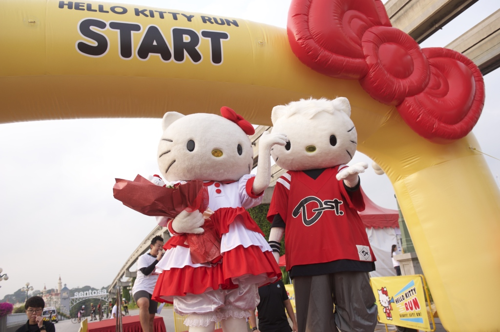 Hello Kitty and Dear Daniel flagged the runners off. (Credit: Hello Kitty Run).