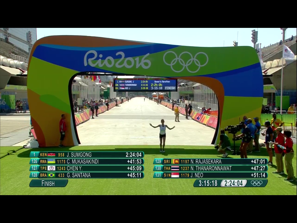 Singapore's Neo Jie Shi crosses the finishing line at the Olympics Marathon.