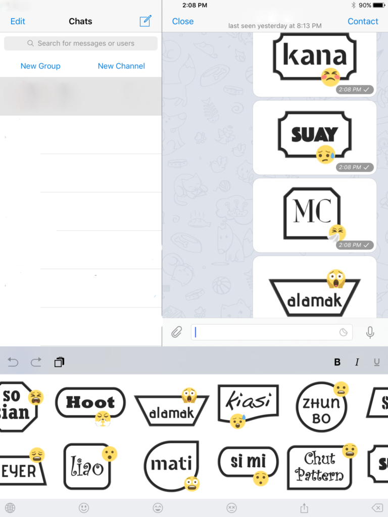 SINmoji works with a variety of messaging apps such as Telegram.