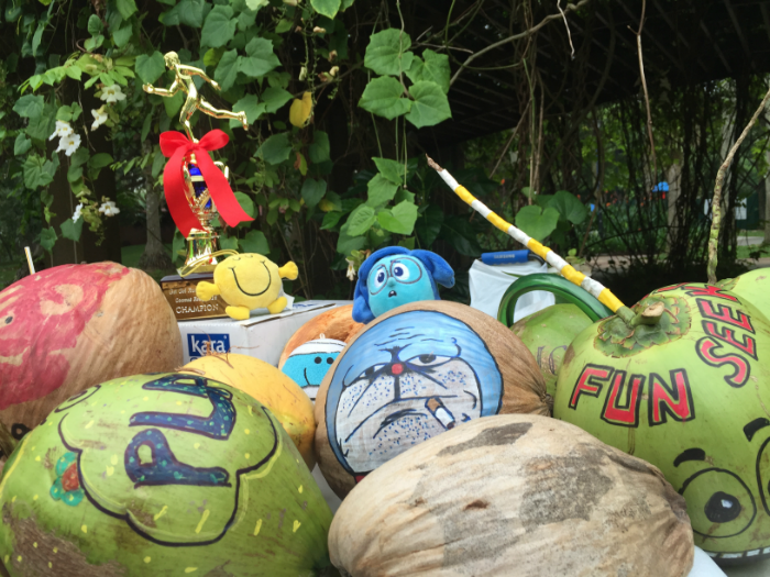 Many of the coconuts were creatively decorated.