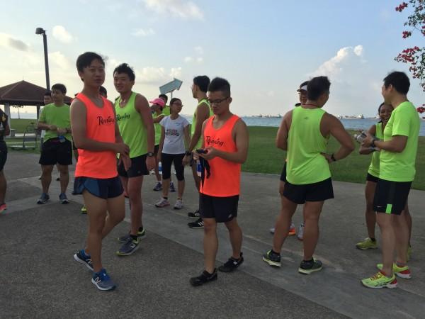 Runners hanging around.