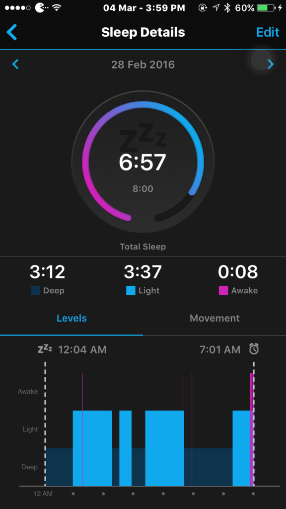 The sleep tracking feature is extremely comprehensive.