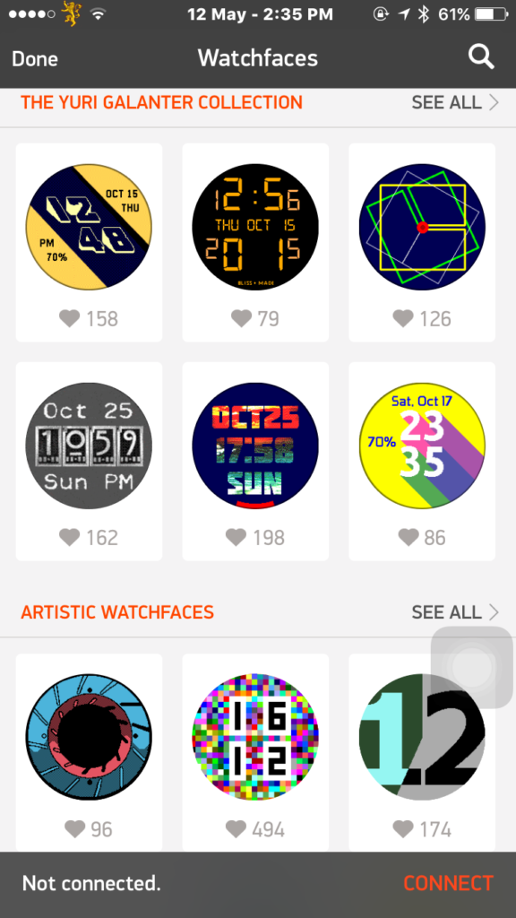 There are lots of watch faces available on the Pebble app.