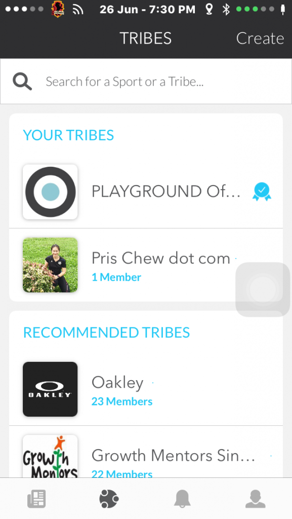 On Playground, you can see Tribes that you have joined as well as Tribes that the app recommends.