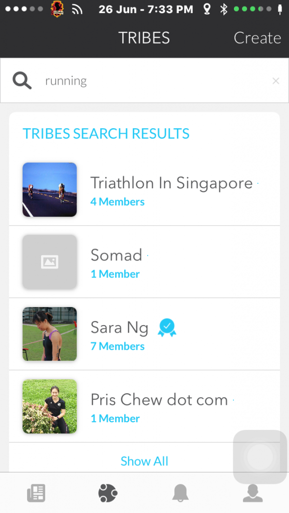 You can search for your favourite sport on Playground and the app will recommend Tribes that deem fit.