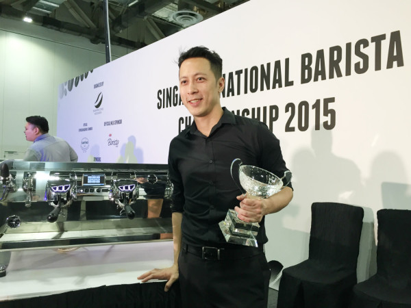 John Ryan Ting is the champion of the 2015 edition of the Singapore National Barista Championships.