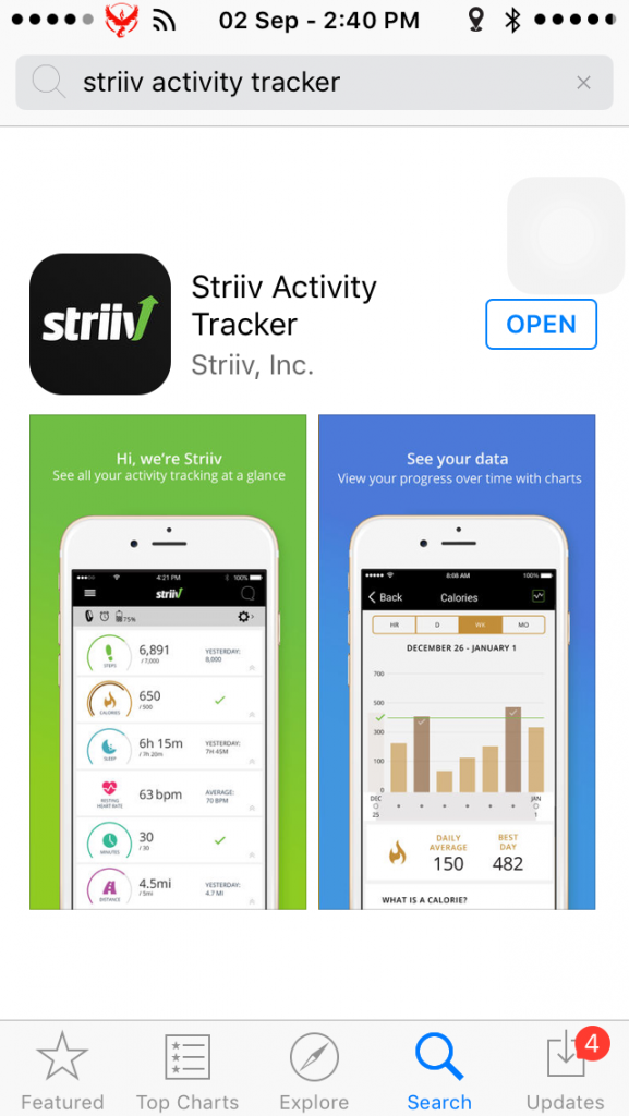 The Striiv app is a free download on both Apple and Android.