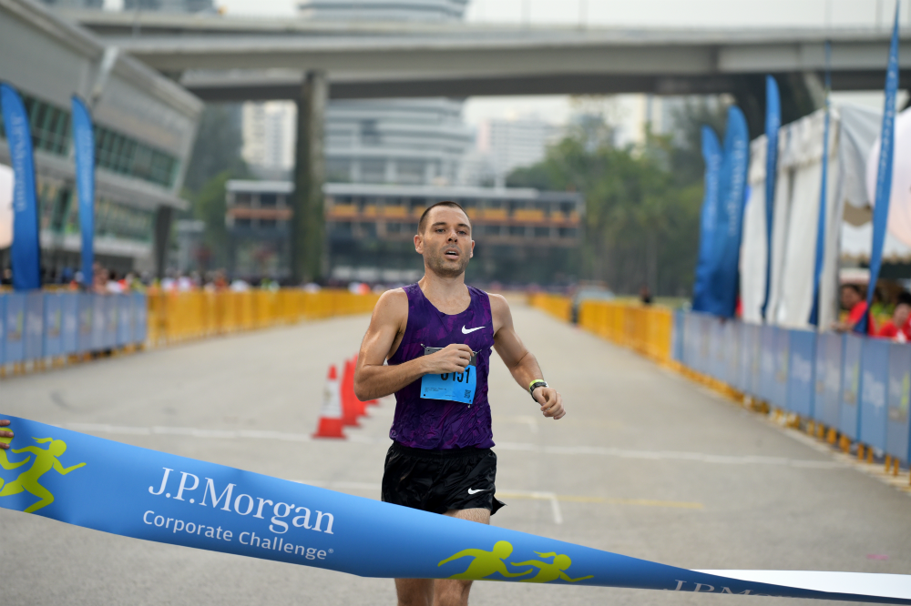 Jason Lawrence was the first finisher for the 2016 race. [Photo courtesy of J.P. Morgan]