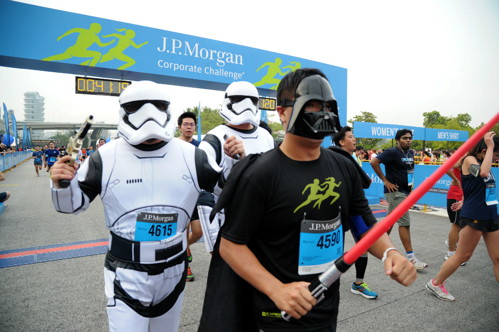 Darth Vader and his stormtroopers also finish the run. [Photo courtesy of J.P. Morgan]