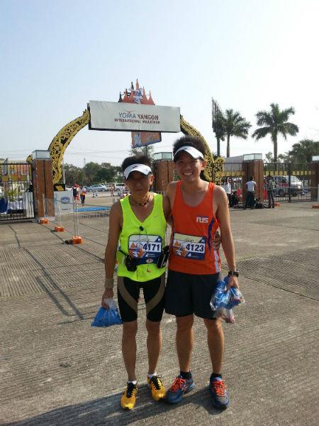 Jeffrey Leong and his buddy at the Yangon Marathon.