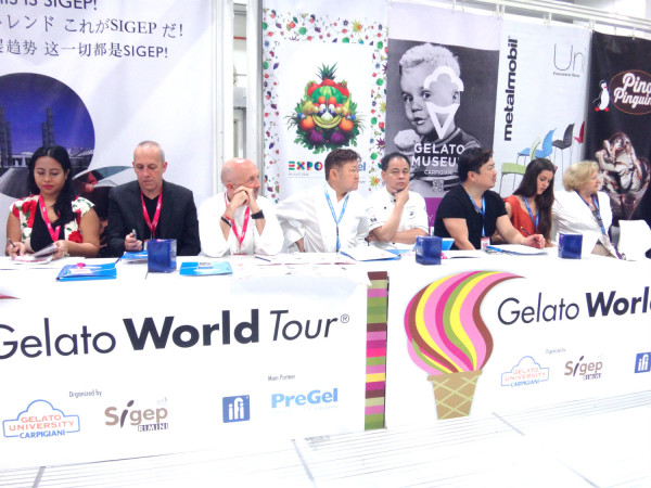 The Technical Jury Panel at the Gelato World Tour, headed by Justin Quek (fourth from right).