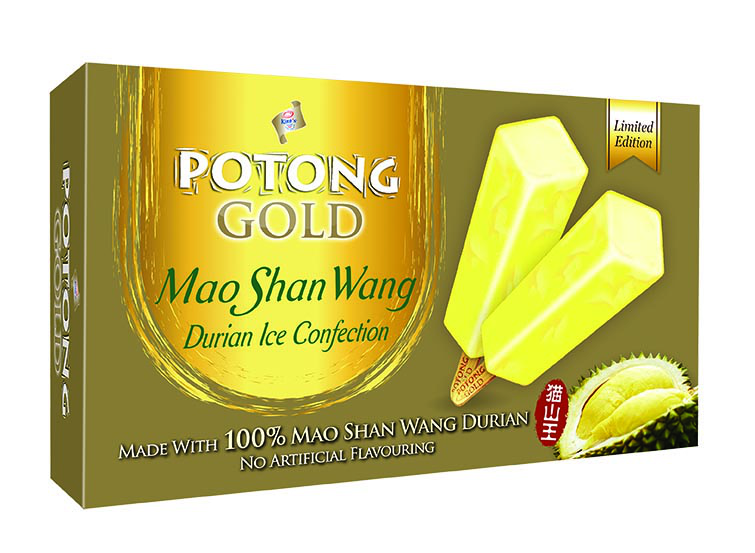 The ice cream is made of 100% Mao Shan Wang puree from Malaysia.