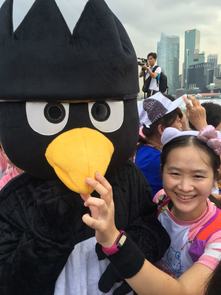 With Bad Badtz Maru at the start line.