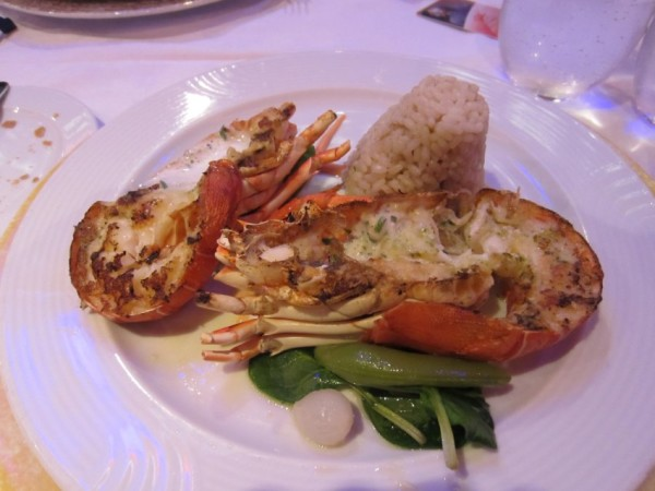 Lobster meal on board the ship.
