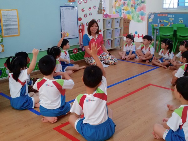 A Kindergarten 1 class playing the Yes Cubbie, No Cubbie card game Credit: SKM.