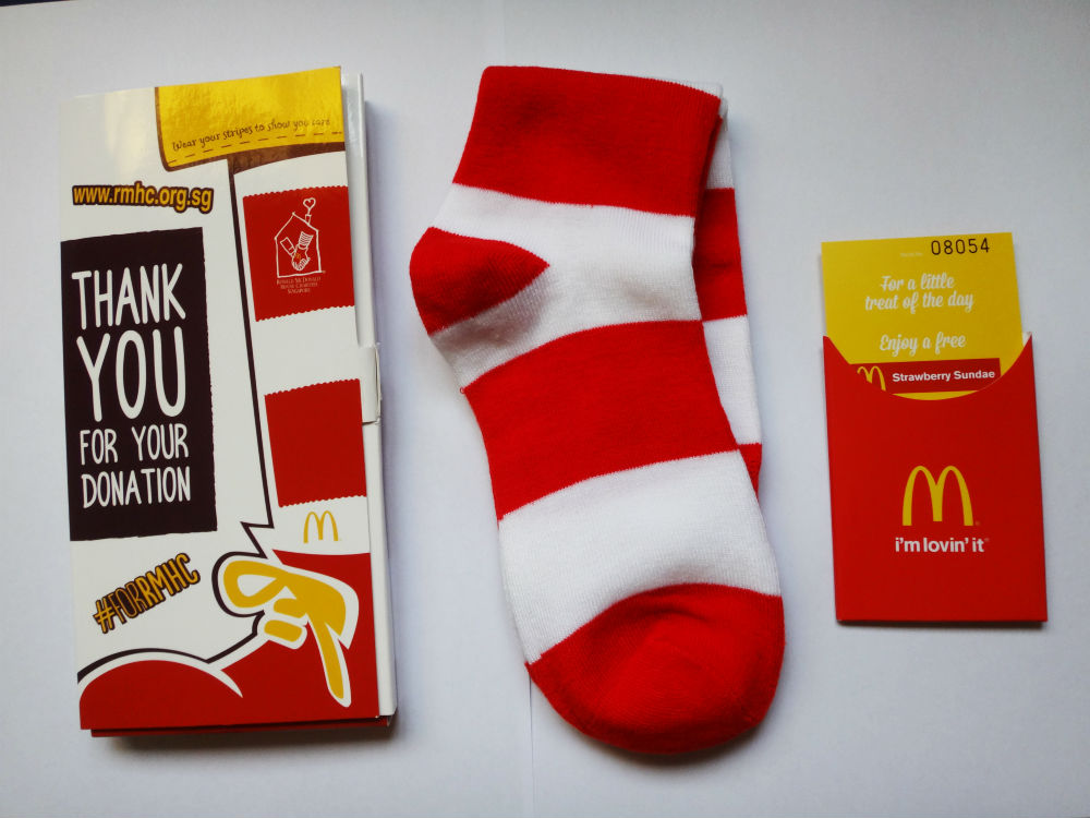 Buy a pair of McDonald's socks and do your part for charity - to help sick children.