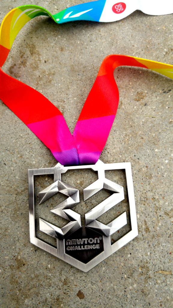 The Newton Challenge 32KM medal is pretty.