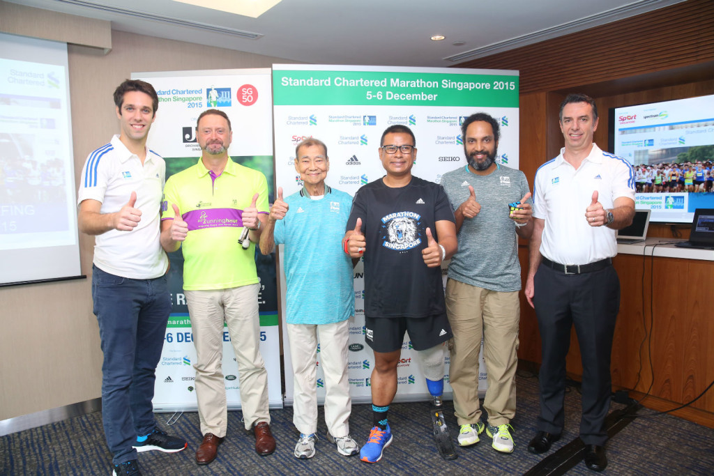 From left to right: Thibaut Vellard, Marketing Director of Spectrum Worldwide, Stuart Francis, Mr Chan Meng Hui (Singapore's oldest marathon runner), Shariff Abdullah (Blade Runner), Ranjith Vijayan and Chris Robb, CEO of Spectrum Worldwide, organiser of SCMS. (Photo credit to SCMS)