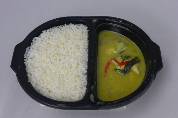 Green Curry Chicken With Rice.