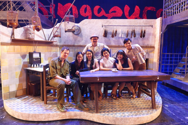 Posing with the cast of Singapura: The Musical at the Kopitiam set.