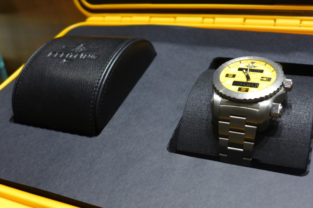 The watch is packaged in a large case.