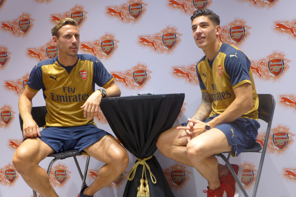 Arsenal's Nacho Monreal and Hector Bellerin.