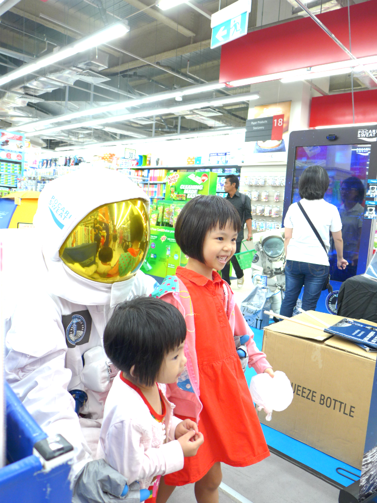 The astronaut was a hit with the children.