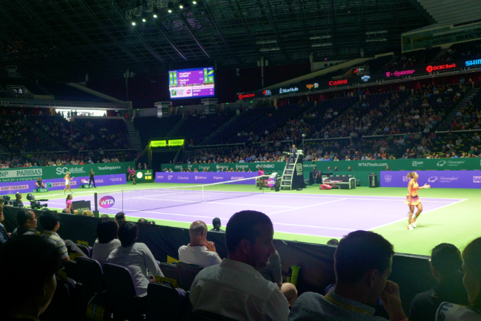 We got to watch the tennis in action at the Singapore Indoor Stadium.