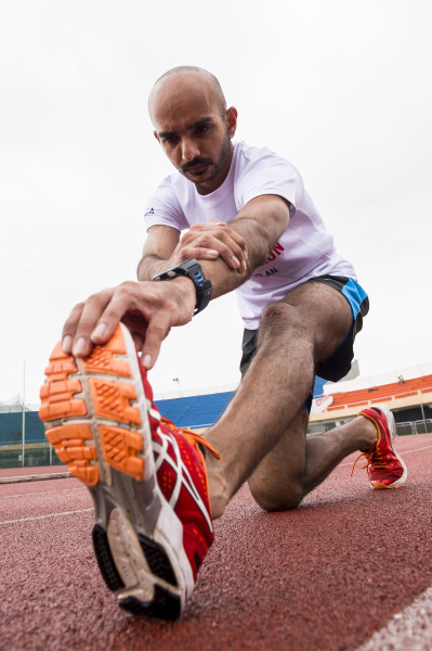 Paviter Singh does some stretching exercises. Photo by Victor Fraile / Power Sport Images