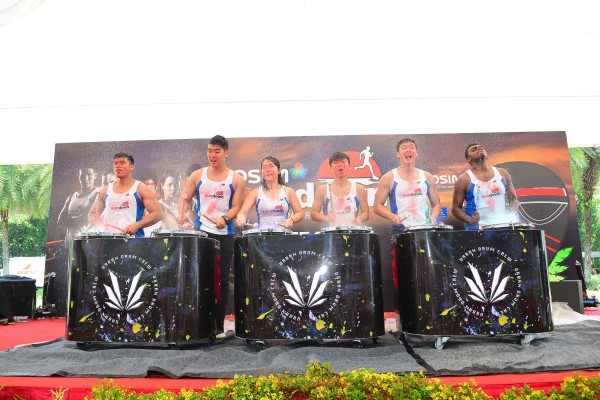 The percussion Band from Urban Drum Crew playing to tribal drum beats at the official launch of OSIM Sundown Marathon 2015 at VivoCity on Saturday Morning. (Photo Credit: OSIM Sundown Marathon)