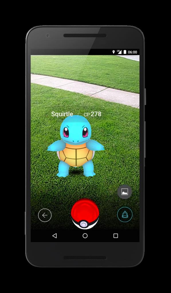 Pokemon Go in action via a smartphone.