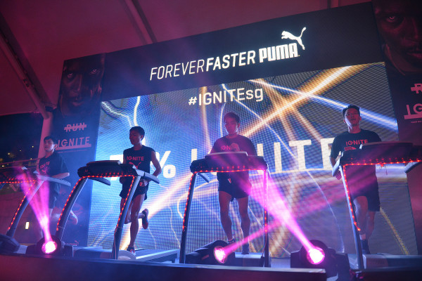Runners on stage are pounding the treadmills. CREDIT: PUMA SINGAPORE.