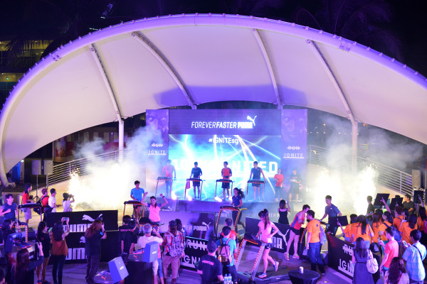PUMA SINGAPORE launches the PUMA IGNITE shoes - by lighting up the SINGAPORE FLYER. Credit: PUMA SINGAPORE.