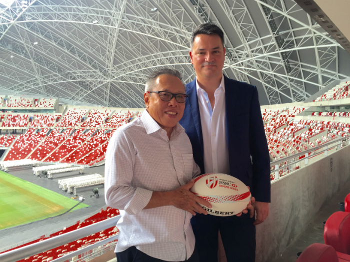RSG Chair Low Teo Ping with World Rugby's Murray Barnett at Singapore National Stadium