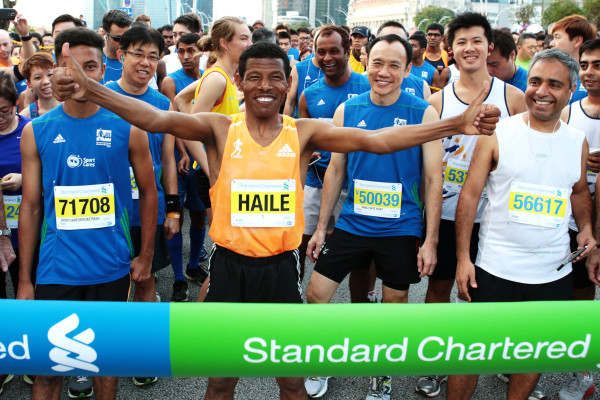 Haile at the starting line of his 10km race. (Credit: Standard Chartered Marathon Singapore 2014)