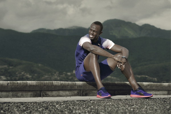 Usain Bolt decked out in the latest Puma apparel, including the IGNITE shoes. Credit: PUMA.
