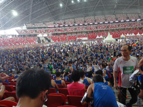 The National Stadium is full of runners after the ST RUN.