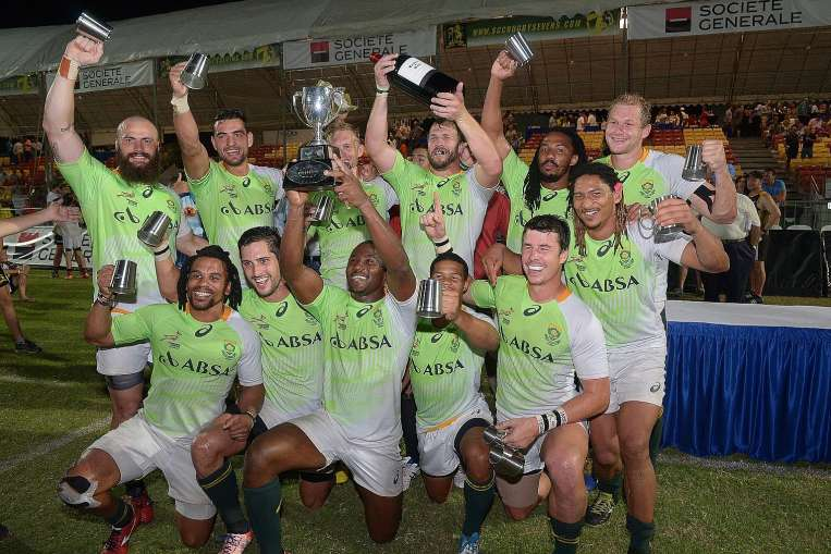 A victorious SA Sevens Academy side in the SCC 7s Tournament. Photo by The Straits Times.