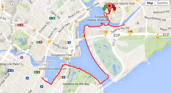 My scenic 15km run through the heart of Downtown Singapore, yesterday.