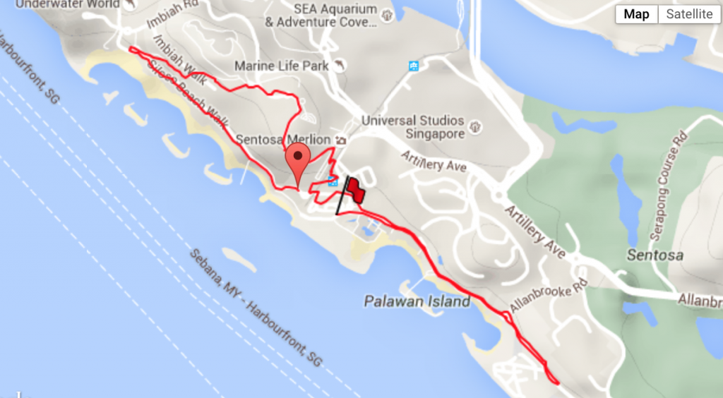 A fun but challenging route around Sentosa.