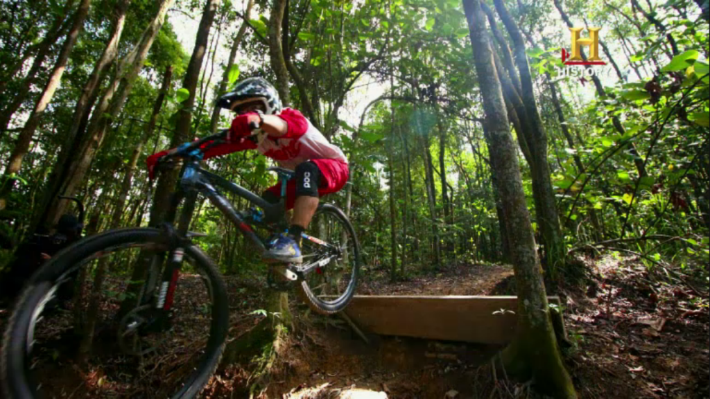 Shooting mountain bikers in action was one of the tasks. photo by: HISTORY Screen Grab.