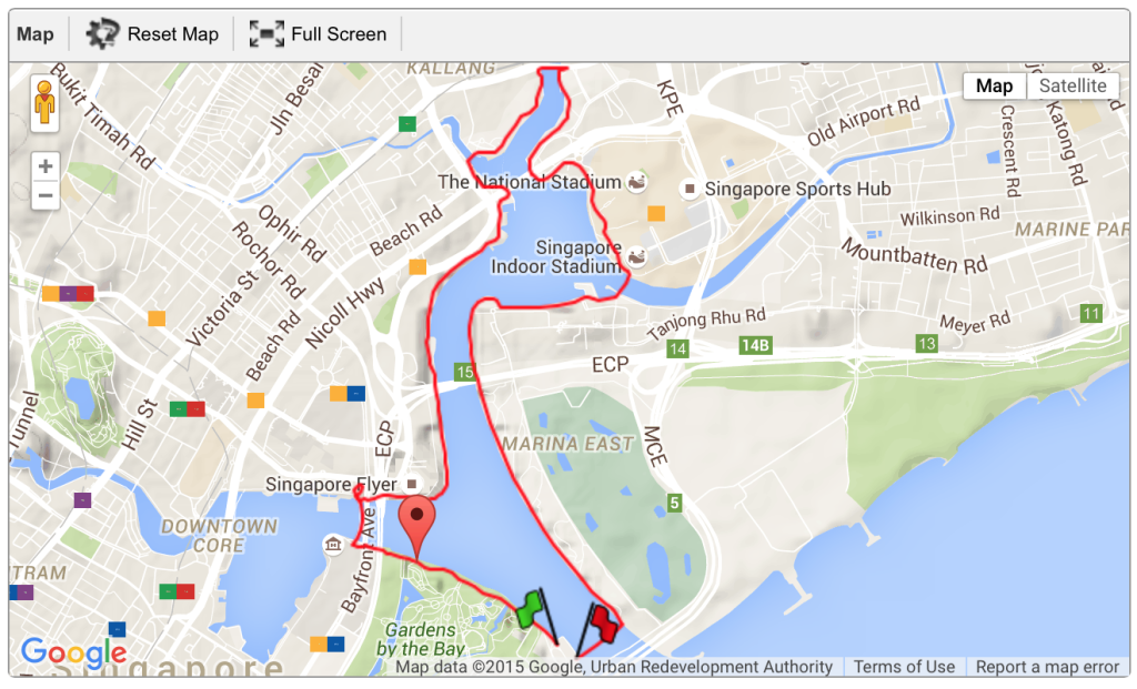 Race route for PUMA Night Run 2015.