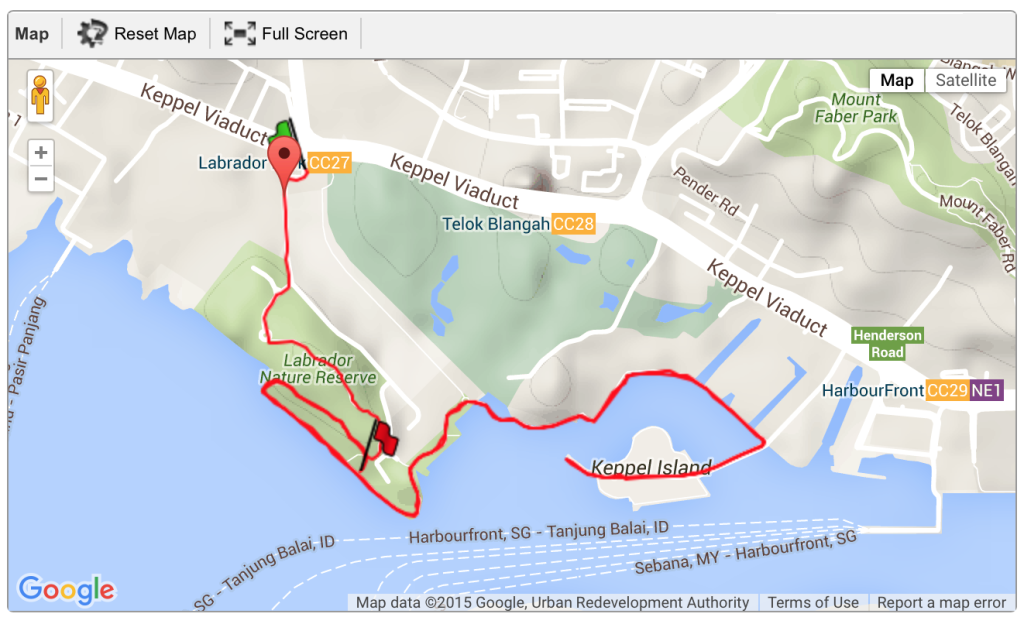 A simple out-and-back route at Labrador Park.