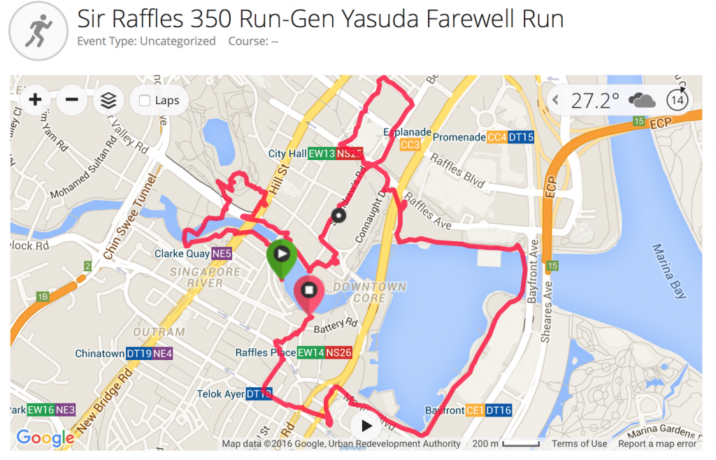 The Running Route. [Image by David Tan's Garmin Connect]