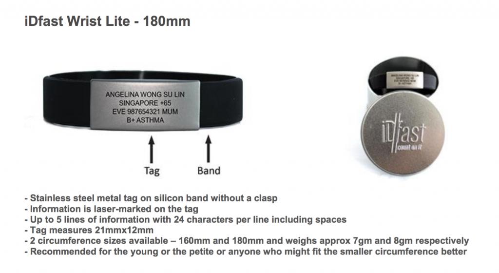 180mm Lite iDfast Wrist Tag.
