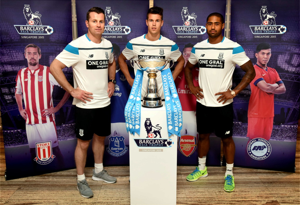 Stoke City FC - L-R Shay Given, Marco van Ginkel, Glen Johnson 3 - Credit Mark Scott